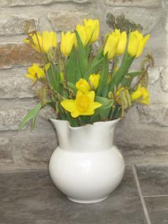 Seasonal flowers to greet you.