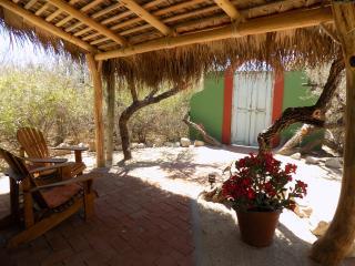 Sitting area under shaded palapa