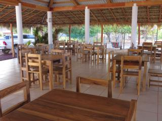 RESTAURANT AREA AND HAMMOCKS FOR YOU TO RELAX
