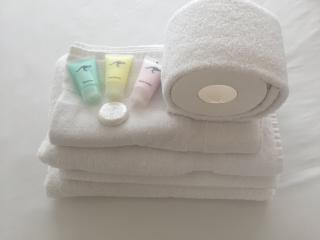 Toiletries and linen are provided