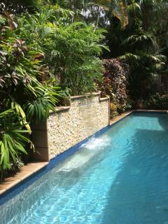 Heated Pool with Waterfall