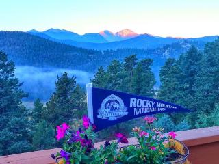 Longs Peak, Rocky Mountain National Park summertime view from cabin deck!