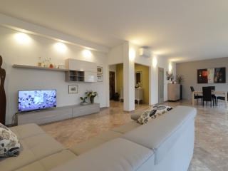 The wonderful  60 mq living room with pink marble floor