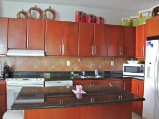 Large kitchen open to living and dining areas.