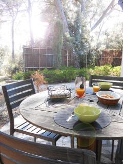 petit déjeuner sur la terrasse, à l'ombre des pins