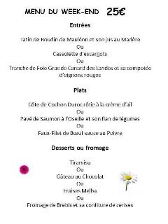 A typical menu at the local bistro - a 5 minute stroll from the cottage!