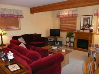Living and dining room area with electric fireplace and access to courtyard and hot tub.