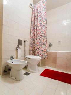 Toilet, bathtub