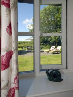 Views over the gardens from the master bedroom