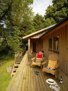 Log cabin at Cwm yr Eglwys - deck