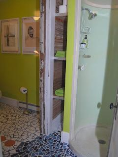Lower level stand up shower