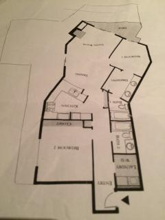 The thin line outside of unit is the outline of a large patio exclusive to the unit.