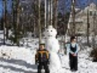 Snowmen and the kids.