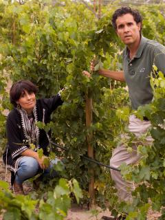 Esteban y María José, los propietarios de Beautiful Alamedas, en las viñas ecológicas