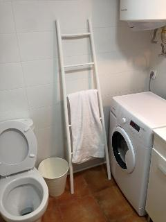 bathroom has anew washing machine and water heater