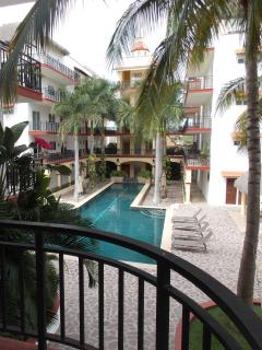 View of pool area from near the entrance to our condo.  April 2016