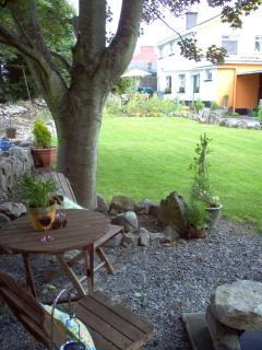 The large rear garden with seating and BBQ areas overlooking the Tipperary countryside.