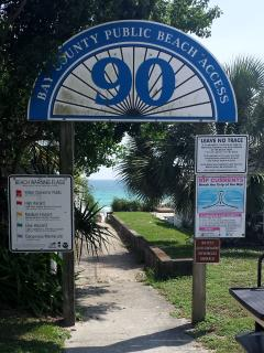 You can see this beach access in the photos showing the sign with our house in the background.