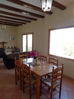 dining area with picture window looking out to uninterrupted mountain views