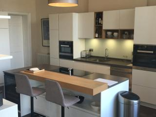 Fully equipped modern kitchen with Miele appliances and a large fridge/ freezer