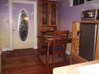Front door kitchen, cupboard and table