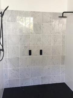 Master Bathroom - Large double shower with Carrara marble