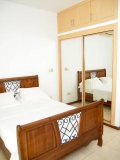 Master bedroom.  Full mirror sliding doors lead to closet space.