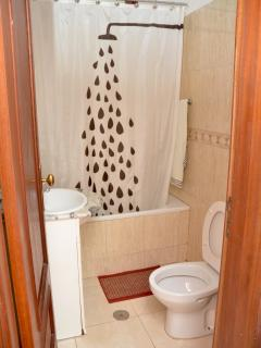 Full bathroom.  Can you guess what is behind the shower curtain with the picture of a shower head?