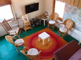 Le salon, vu de la mezzanine, TV-TNT à écran plat 102cm, lecteur DVD, assemblage des cartes 1/25000°