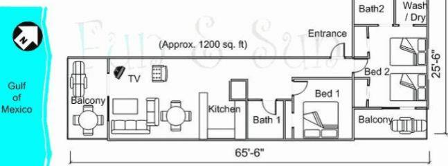 General layout of condo directly on to the beach