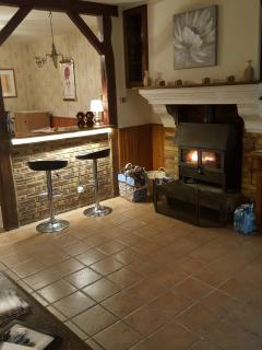Kitchen bar area and woodburner