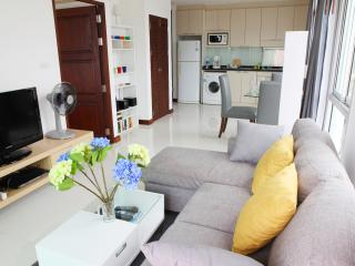 Living area with open kitchen. Fully equipped with washing machine, micro wave, toaster, coffee mach