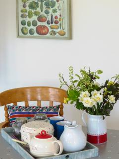 Enjoy a cup of tea and a slice of cake on your arrival at Kingdom Cottage.