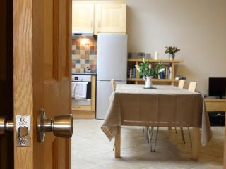 A view into the kitchen/dining area