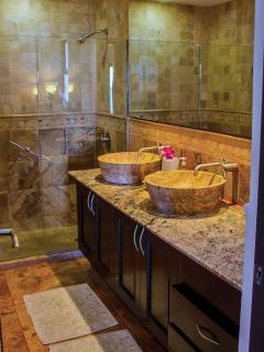 Marble walk in shower / bath
