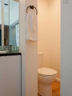 Toilet and vanity sink in master bedroom. Note no door to toilet area.
