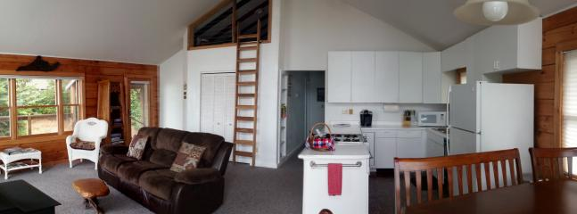 Living room, kitchen and dining room are open concept