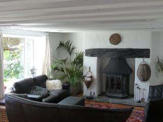 The cosy sitting room has a wood burning stove and comfortable seating around a Persian rug.