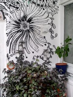 detail - Lidia's painted wall in the conservatory