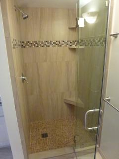 Newly remodeled walk-in shower in second bathroom