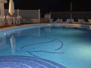 Heated pool walk in steps underwater lights perfect for midnight swim..