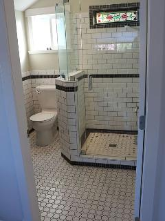 Master bathroom with walk in rain shower