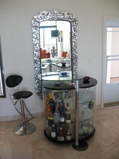 Living room bar and imported Italian mirror