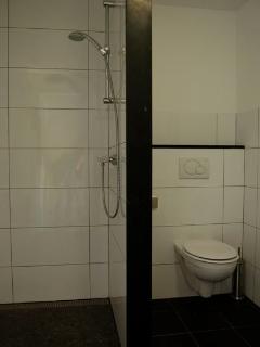Ruime inloopdouche gecombineerd met toilet en wastafel.