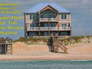 Island Drive 100 Oceanfront! | Private Heated Pool, Hot Tub, Elevator, Game, North Topsail Beach