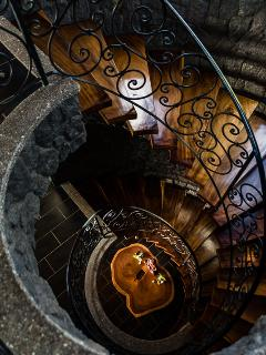 Three level Hardwood floating staircase