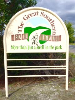The Great Southern Rail Trail can be accessed (with car parking) 3kms up the road