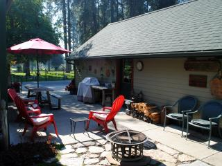 Rear patio, firepit, bar b que , picinic table and more