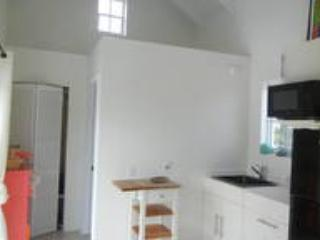Kitchen with full sized fridge, microwave, (no stove, BBQ on pool deck) closet and bath door behind.