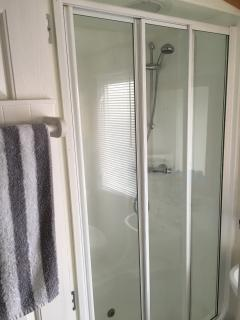 Main bathroom with shower - difficult to photo!